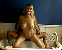 Fine golden-haired wench got screwed hard in a baths tub from the back
