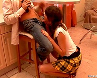 Slim and hot dark brown legal age teenager eagerly blows knob of her boyfriend