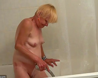 Incredibly kinky old bitch takes ribald shower in advance of hard three some
