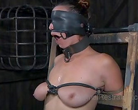 Immobilized bitch is blindfolded and smacked by her dominant