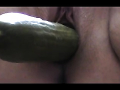 Homemade solo with me pounding my love tunnel with a cucumber