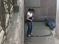 Public pissing outdoor solo scene with naughty brunette hair Elizabeth