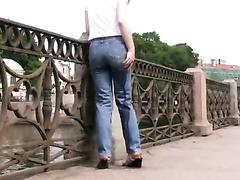 Public pissing outdoor solo scene with naughty brunette hair Elizabeth