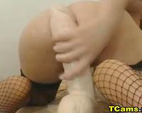 Gorgeous Blonde Tranny Rides a Massive Dildo