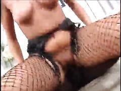 Luscious brunette hair enjoys multiposition interracial sex indoors