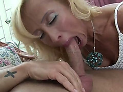 Hot blond mom receives her moist cunt group-fucked well by a lewd fellow