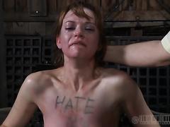 Skanky redhead treats her master's jock like an ice jizz cone