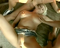 Wanton golden-haired aged receives group-fucked hard by several fellows