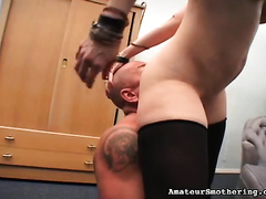 Short haired slut with great rack acquires her love tunnel licked well