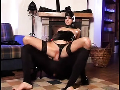 Delightful latex chick acquires team-fucked by a excited fellow in mask