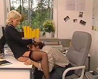 Hot blooded golden-haired head paramour visited her sexually excited bellowed man in office to nifty down her fur pie