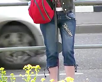 Just an non-professional brunette hair Russian white lady in public pissing