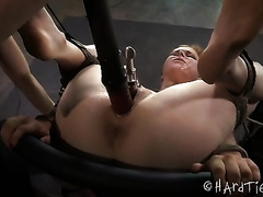 Brunette honey with pale skin receives her pink pussy screwed with sex toy