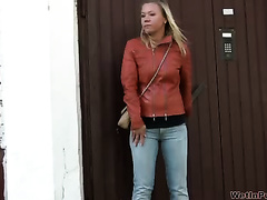 Blonde Russian Married slut in leather jacket and jeans makes water in public