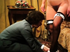 Retro girl acquires her twat fingered and screwed in front of a voyeur