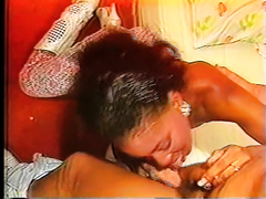 Stunning African honey with chocolate skin acquires drilled by white chap