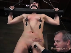 Brunette black cock slut with ring gag in her throat does everything her taskmaster craves