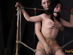 Playful mistress bounded dark brown hottie and plays with her love muffins