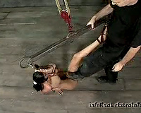 Nasty bounded beauty is tortured by her sexually excited slaver