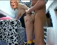 Lewd golden-haired hooker enjoys vehement rear banging with me