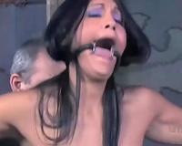Tied up dark brown Jade acquires face-fucked in astonishing BDSM movie scene