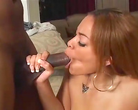 Horny redhead whore with great shapes receives her cum-hole licked and team-fucked