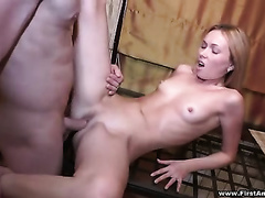 Slim golden-haired sweetheart with lengthy legs acquires her taut snatch nailed