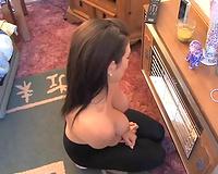Homemade episode with a bosomy dark brown milf flashing her boobs