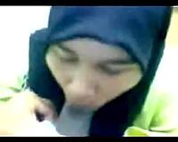 Shy Malay office wife in hijab blows my jock on webcam