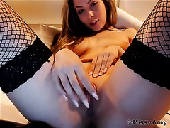 Amazingly glamorous blond in fishnet stockings is cumming for me on livecam