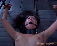 Flat Asian whore with shaved yoni suffers in the night