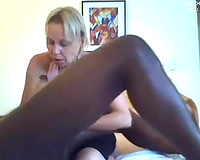 Blonde knob hungry cougar is impressed with the size of my BBC