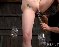 Dissolute thrall dirty slut wife bounded outdoors and punished by her taskmaster