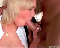Pretty blue eyed blond sucks cocks