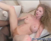 Hairy box redhead filled with huge dark dong