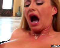 Sexy golden-haired Aline interracial sex