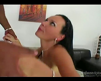 Brunette beauty with luscious booty screwed by darksome fellow