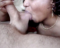 Ebony babe is just so thrilled to play with a large, white wang