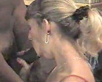 Ebony man sends his dong plunging down this blonde's constricted, delicate aperture
