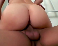 Horny blond bouncing on a huge wang