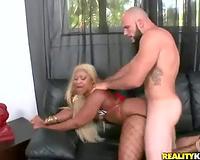 Ebony minx with luscious butt enjoying white rod
