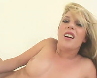 Energetic blond hottie with hawt butt copulates sexually excited darksome chap