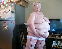 Filthy mature white big beautiful woman slutwife in pink jumbo sized bathing costume
