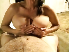 Torrid mother I'd like to fuck sucks my knob with passion and spices things up with a titjob