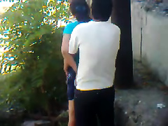My Uzbek buddy copulates his GF's cum-hole from behind in the yard