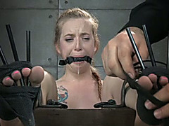 Alluring blond Married slut with a gag in her face hole acquires her feet and cum-hole tortured