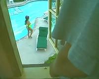 Sunburnt dark brown playgirl masturbating in advance of teabagging