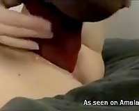 Extreme masturbation with a giant dildo that barely fits in her muff