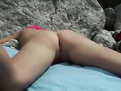 My cute brunette hair GF allows me to film her on a nudist beach