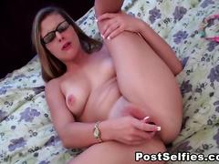 Big Tits Girl With Glasses Masturbation